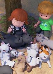 朱莉和猫咪打成一团 被动物包围的女孩子