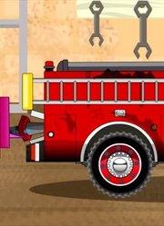 少儿益智-消防车和警车工作 汽车和卡车卡通