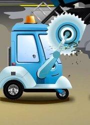 卡通儿童水泥搅拌车与工程车辆互相帮助