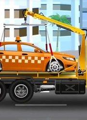 救护车在城市 卡车救助受伤出租车动画