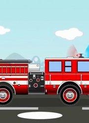 消防车工作救火与汽车人帮助修理卡通