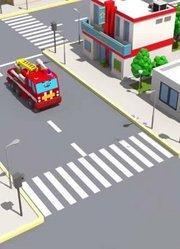 城市中的车辆挖掘机-新儿童卡通3D动画-汽车和卡车故事
