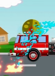 红色消防车救火 汽车人修理受损车辆