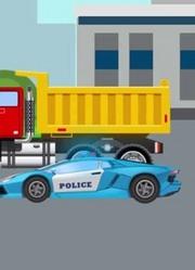 少儿益智-警车处理违章车辆—儿童汽车和卡车动画片