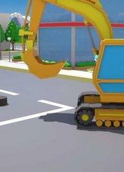 少儿益智-挖掘机和车辆新儿童卡通动画汽车和卡车