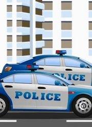 蓝色警车处理违章车辆和拖车汽车动画