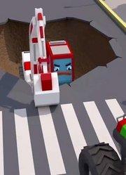 挖掘机在坑里 起重机拖拉机帮助它的故事动画