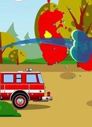 消防车和警车处理违章汽车