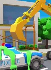 城市中有气球的挖掘机 新儿童卡通汽车和卡车故事