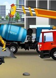 少儿益智-建筑工地蓝色水泥搅拌车-汽车和卡车挖掘机
