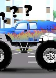 黄色吊车和卡车工作 2D动画卡通