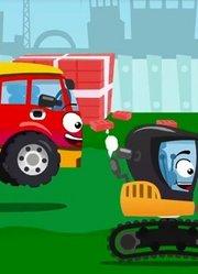 少儿益智-新型水泥搅拌车挖掘机工作