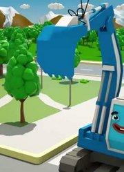 城市拖拉机挖掘机3D动画为儿童车和卡车故事