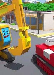 在城市挖掘机建筑车辆新儿童卡通3D动画汽车和卡车故事