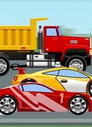 道路上的红色小汽车 挖掘机和卡车卡通