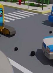 调皮挖掘机在城市中玩汽车动画 儿童汽车和卡车故事