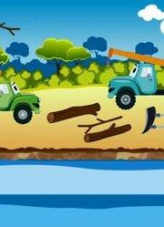 自卸卡车工作汽车和卡车卡通儿童