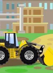 少儿益智-红色倾卸卡车和挖掘机起重机工作卡通