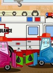 少儿益智-救护车在建筑工地冒险在儿童汽车卡通