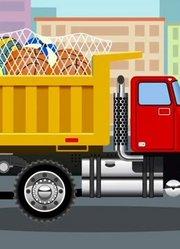 城市里的警车上有救护车和消防车在汽车和卡车运输