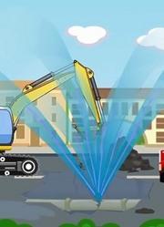 挖掘机和建筑卡车修理城市水管