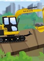 少儿益智-新型水泥搅拌车-挖掘机修路