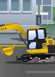 建筑卡车和水泥搅拌车挖掘机一起工作