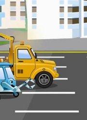 自卸卡车与汽车和卡车在城市冒险-儿童动画