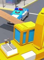 城市中的挖掘机工作视频儿童卡通汽车和卡车故事新动画片