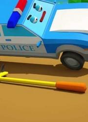 城市中的警车和新朋友:儿童汽车和卡车故事卡通