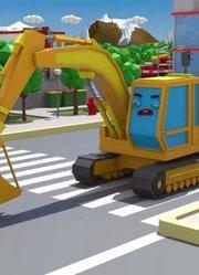 在城市中挖掘机被吹飞-新儿童卡通动画故事