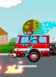 红色消防车救火汽车人修理受损车辆