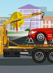 拖车处理受损赛车-汽车和卡车动画片