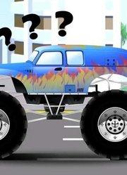 黄色吊车和卡车工作2D动画卡通